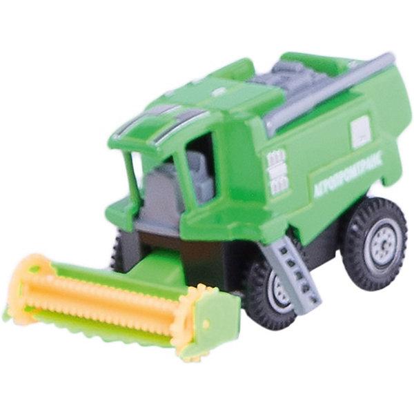 Комбайн, 7,5см, ТЕХНОПАРКМашинки<br>Характеристики:<br><br>• тип игрушки: машина;<br>• возраст: от 3 лет;<br>• размер: 6х9х11 см;<br>• цвет: зеленый;<br>• материал: металл, пластик;<br>• бренд: Технопарк;<br>• страна производителя: Китай.<br><br>Машина Технопарк «Комбайн»  - это миниатюрная модель реально существующего. Основной корпус машинки изготовлен из металла, однако также имеются некоторые элементы, сделанные из пластика. Машинка окрашена равномерным слоем, который хорошо ложится на гладкую металлическую поверхность. Колеса машинки хорошо прокручиваются без каких-либо заеданий и торможений. <br><br>Тематические игры с интересными сюжетами разбудят воображение ребёнка, а манипуляции с игрушкой потренируют мелкую моторику пальцев рук. Масштабные модели от компании «Технопарк» отличаются качественными ударопрочными материалами, продлевающими долговечность изделия тщательным исполнением со вниманием ко всем деталям, и имеют требуемые сертификаты соответствия для детских игрушек.<br><br>Машину Технопарк «Комбайн»  можно купить в нашем интернет-магазине.<br>Ширина мм: 100; Глубина мм: 60; Высота мм: 120; Вес г: 80; Возраст от месяцев: 36; Возраст до месяцев: 9; Пол: Мужской; Возраст: Детский; SKU: 4950440;