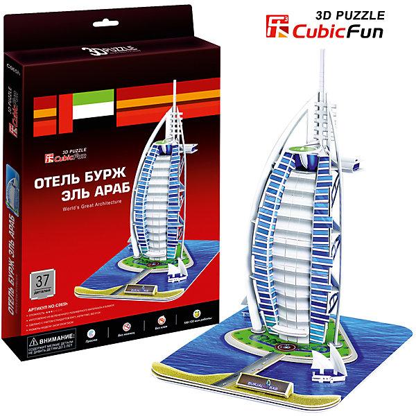 Пазл 3D Отель Бурж эль Араб (ОАЭ), CubicFun3D пазлы<br>Cubic Fun C065h Кубик фан Отель Бурж эль Араб (Дубаи)<br>Бурж эль-Араб  — роскошный отель в Дубае, крупном городе Объединённых Арабских Эмиратов. Здание стоит в море на расстоянии 280 метров от берега на искусственном острове, соединённом с землёй при помощи моста. Высота 321 метр. Строительство отеля началось в 1994 году, для посетителей он открылся 1 декабря 1999 года. Отель был построен в виде паруса доу, арабского судна. Ближе к верху находится вертолётная площадка, а с другой стороны — ресторан «Аль-Мунтаха» (араб. ?? Высочайший). Конструкция поддерживается консольными балками.<br>Уровень сложности - 3<br>Функции:   <br>- помогает в развитии логики и творческих способностей ребенка;<br>- помогает в формировании мышления, речи, внимания, восприятия и воображения;<br>- развивает моторику рук;<br>- расширяет кругозор ребенка и стимулирует к познанию новой информации;<br>Практические характеристики:<br>- обучающая, яркая и реалистичная модель;<br>- идеально и легко собирается без инструментов;<br>- увлекательный игровой процесс;<br>- тематический ассортимент;<br>- новый качественный материал (ламинированный пенокартон)<br>Ширина мм: 20; Глубина мм: 330; Высота мм: 220; Вес г: 325; Возраст от месяцев: 72; Возраст до месяцев: 192; Пол: Унисекс; Возраст: Детский; SKU: 4951140;