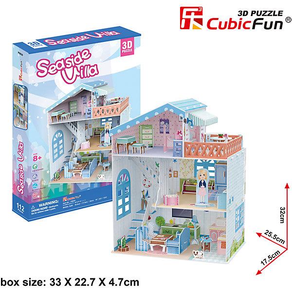 Пазл 3D Прибрежная Вилла, CubicFun3D пазлы<br>3D пазл Прибрежная Вилла относится к специальной серии Cubic Fun для девочек. Это большое здание с ярким интерьером, состоящее из 2-х этажей, чердака и балкона. На первом этаже находится гостиная - здесь есть удобный диван, телевизор, кухня, рядом с которой так любит сидеть щенок. На втором этаже расположена спальня, здесь можно закрепить фигурку девочки - хозяйки дома. На чердаке есть еще одна комната, их которой можно выйти прямо на балкон, чтобы полюбоваться чудесными прибрежными видами.<br><br>Пазл легко собирается без ножниц и клея. Все детали выполнены из высококачественного, прочного картона. С моделью виллы можно играть, как с кукольным домиком - одна стенка отсутствует и видны все внутренние помещения. Высота домика - 32 см., длина - 25 см.<br>Ширина мм: 230; Глубина мм: 340; Высота мм: 50; Вес г: 673; Возраст от месяцев: 96; Возраст до месяцев: 192; Пол: Женский; Возраст: Детский; SKU: 4951162;