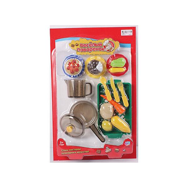 Игровой набор Веселый поваренок, PlaySmartДетский супермаркет<br>Веселый поваренок - набор для детских игр.  С этим набором девочка сможет почувствовать себя настоящей хозяйкой, готовящей различные блюда.  В наборе есть все, что пригодится маминой помощнице: пластиковые продукты, сковорода, кухонные принадлежности и столовые приборы. Все игрушки изготовлены из качественных материалов, безопасных для ребенка. Игра хорошо развивает воображение и мелкую моторику. Прекрасно подойдет для сюжетно-ролевых игр с подружками.<br><br>Дополнительная информация:<br>Материал: пластик<br>Размер: 30х6х47 см<br>Вес: 470 грамм<br>Вы можете приобрести набор Веселый поваренок в нашем интернет-магазине.<br>Ширина мм: 470; Глубина мм: 60; Высота мм: 300; Вес г: 492; Возраст от месяцев: 36; Возраст до месяцев: 120; Пол: Женский; Возраст: Детский; SKU: 4953618;
