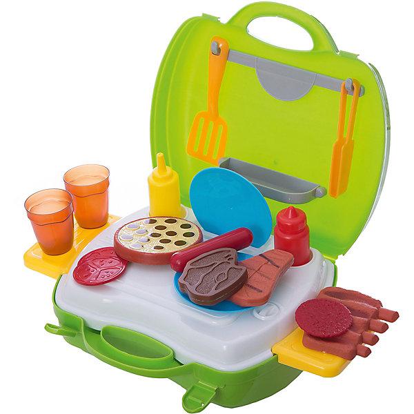 Набор в чемоданчике  Мастер-Шеф Барбекю, 23 предмета, 1toyИгрушечные продукты питания<br>Набор Мастер Шеф. Барбекю поможет ребенку накормить свои игрушки вкусными мясными блюдами. Чемоданчик раскладывается с помощью выдвижных столиков, его можно украсить наклейками. Все предметы из качественных материалов и безопасны для ребенка. Чемоданчик удобно будет взять с собой на пикник и устроить свое барбекю, пока родители готовят. Превосходный набор для начинающего повара!<br><br>Дополнительная информация:<br>В наборе: набор посуды, набор продуктов, наклейки, 2 выдвижных столика<br>Материал: пластик<br>Размер: 24,5х10х22,5 см<br>Вес: 572 грамма<br>Набор Мастер Шеф. Барбекю можно приобрести в нашем интернет-магазине.<br>Ширина мм: 225; Глубина мм: 100; Высота мм: 245; Вес г: 572; Возраст от месяцев: 24; Возраст до месяцев: 120; Пол: Унисекс; Возраст: Детский; SKU: 4953631;
