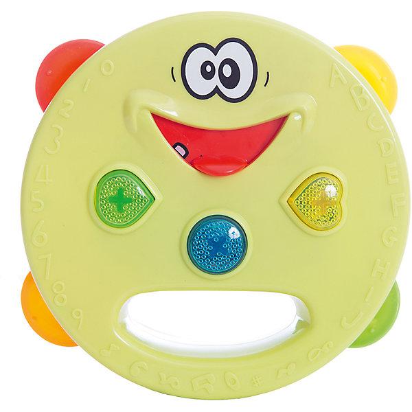 Электронный бубен, со светом, Поющий оркестр, 1toyДругие музыкальные инструменты<br>Электронный бубен из серии Поющий оркестр - забавная игрушка, которая позволит ребенку не только создавать музыку самому, но и прослушивать чудесные мелодии, нажимая на язычок бубна. Игрушка с веселыми кнопками, которые светятся при нажатии. Игрушка развивает мелкую моторику, чувство ритма и мелодии. С этим бубном ребенок откроет для себя прекрасный мир музыки!<br><br>Дополнительная информация:<br>Батарейки: AAA / LR0.3 1.5V - 3 штуки( в комплект не входят)<br>Размер: 18х8х19,5 см<br>Вес: 243 грамма<br>Электронный бубен можно купить в нашем интернет-магазине.<br>Ширина мм: 195; Глубина мм: 80; Высота мм: 180; Вес г: 243; Возраст от месяцев: 12; Возраст до месяцев: 60; Пол: Унисекс; Возраст: Детский; SKU: 4953669;