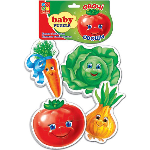 Мягкие пазлы Овощи, Vladi ToysПазлы для малышей<br>Характеристики:<br><br>• возраст: от 3 лет;<br>• материал: полимер, картон;<br>• комплектация: первый пазл - 3 элемента, второй пазл - 5 элементов, два пазла по 4 элемента;<br>• вес: 40  гр;<br>• размер: 27x16x2  см;<br>• бренд: Vladi Toys.<br><br>Мягкие пазлы «Овощи», Vladi Toys для самых маленьких в прозрачной мягкой упаковке в форме овощей, иллюстрированные яркими и красочными картинками капусты, морковки, лука и помидорки. Толстенькие детали пазла позволяют легко брать их в детские ручки, а также легко соединять фрагменты в готовые картинки. <br><br>В наборе собрано 4 картинки-пазла. Лицевая сторона пазла выполнена из картона. Оборотная сторона представляет собой мягкий и безопасный материал. Занимают минимум места и прекрасно занимают малышей, положительно воздействуя на раннее развитие.<br><br>Мягкие пазлы «Овощи», Vladi Toys можно купить в нашем интернет-магазине.<br>Ширина мм: 155; Глубина мм: 270; Высота мм: 20; Вес г: 34; Возраст от месяцев: 24; Возраст до месяцев: 60; Пол: Унисекс; Возраст: Детский; SKU: 4954016;