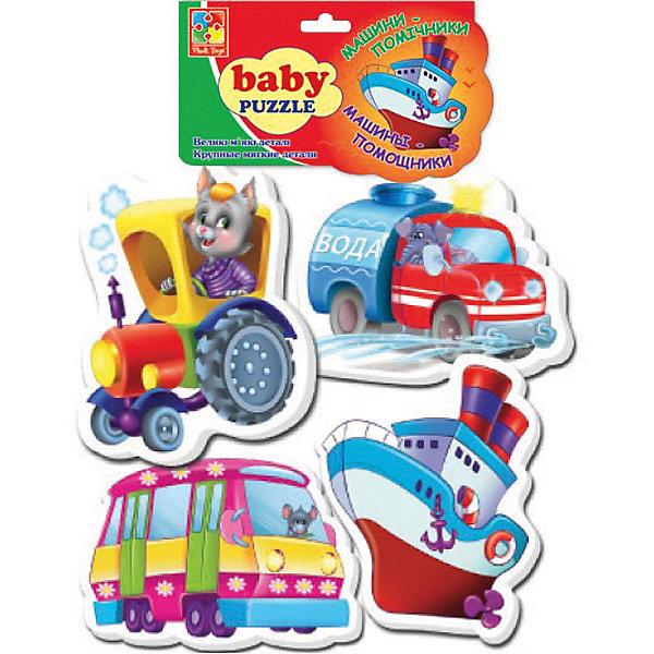 Мягкие пазлы Транспорт, Vladi ToysПазлы для малышей<br>Характеристики:<br><br>• возраст: от 3 лет;<br>• материал: полимер, картон;<br>• комплектация: 1 пазл - 3 элемента, 2 пазл - 4 элемента, 3 пазл - 4 элемента, 4 пазл - 5 элементов;<br>• вес: 40  гр;<br>• размер: 27x16x2  см;<br>• бренд: Vladi Toys.<br><br>Мягкие паззлы «Транспорт», Vladi Toys для самых маленьких в прозрачной мягкой упаковке в форме различного Транспорта, иллюстрированные яркими и красочными картинками автобуса, трактора, кораблика и водовоза. Толстенькие детали пазла позволяют легко брать их в детские ручки, а также легко соединять фрагменты в готовые картинки. <br><br>В наборе собрано 4 картинки-пазла. Лицевая сторона пазла выполнена из картона. Оборотная сторона представляет собой мягкий и безопасный материал. Занимают минимум места и прекрасно занимают малышей, положительно воздействуя на раннее развитие.<br><br>Мягкие пазлы «Транспорт», Vladi Toys можно купить в нашем интернет-магазине.<br>Ширина мм: 155; Глубина мм: 270; Высота мм: 20; Вес г: 34; Возраст от месяцев: 24; Возраст до месяцев: 60; Пол: Унисекс; Возраст: Детский; SKU: 4954021;
