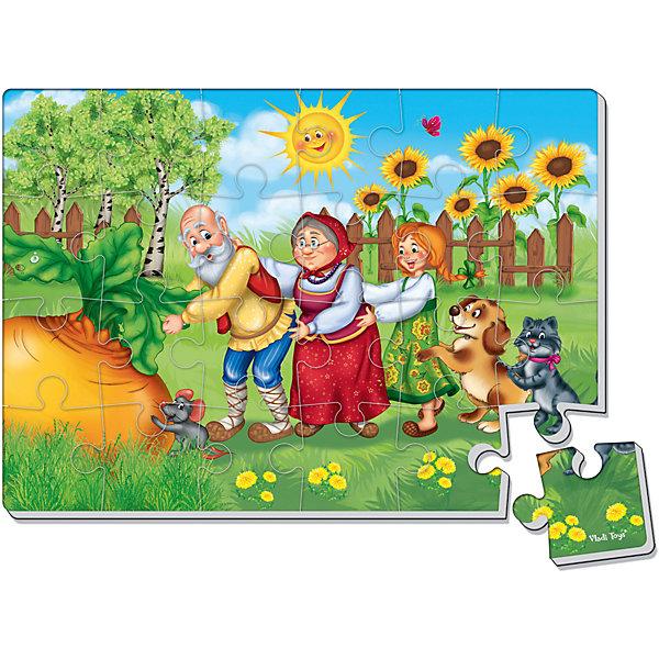 Мягкие пазлы А4 Репка, 24 детали, Vladi ToysПазлы для малышей<br>Характеристики:<br><br>• возраст: от 3 лет;<br>• материал: картон, полимер;<br>• комплектация: 24 дет.;<br>• вес: 40  гр;<br>• размер: 35x25x2 см;<br>• бренд: Vladi Toys.<br><br>Мягкие пазлы А4 «Репка»,  Vladi Toys подойдут для детей от 3 лет. Помогите любимым персонажам найти потерянный кадр из сказки и обязательно сохраните его на память, а если захотите, то соберите еще несколько раз, у кого быстрее это получится. Элементы деталей пазла складываются в знакомый сюжет и порадуют вашего малыша такому замечательному успеху и умению так быстро собирать картинку. <br><br>Пазл - это увлекательная игра для всей семьи. Пазлы можно собирать несколько раз или сохранить получившуюся картинку на память, благодаря толщине и плотности деталей картинка крепко держится и не распадается без применения усилий. <br><br>Мягкие пазлы А4 «Репка»,  Vladi Toys можно купить в нашем интернет-магазине.<br>Ширина мм: 345; Глубина мм: 305; Высота мм: 40; Вес г: 50; Возраст от месяцев: 36; Возраст до месяцев: 60; Пол: Унисекс; Возраст: Детский; SKU: 4954048;