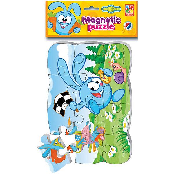 Пазлы на магните Крош, Смешарики, Vladi ToysПазлы для малышей<br>Характеристики:<br><br>• возраст: от 2 лет;<br>• материал: картон, полимер, магнит;<br>• комплектация: 12 дет.;<br>• вес: 70  гр;<br>• размер: 24x20x0,3 см;<br>• бренд: Vladi Toys.<br><br>Пазлы на магните «Крош», Смешарики, Vladi Toys подойдут для детей от 2 лет. Очаровательные Смешарики хотят подружиться! Мягкие магнитные пазлы - это чудесные иллюстрации с изображением мультипликационных героев, нарисованных как раз для наших юных умничек. Реальные цвета, добрые, улыбчивые лица и очень правдоподобные сказочные герои. <br><br>Пазлы созданы с учетом всех особенностей раннего детского развития. Крупные элементы, безопасный материал изготовления, удобное использование и полезная игра! Вы можете играть на магнитной доске, на холодильнике, на металлических дверцах шкафчиков для хранения, а если захотите, то их можно использовать как обычные мягкие пазлы! Пазлы легко брать с собой! <br><br>Пазлы на магните «Крош», Смешарики, Vladi Toys можно купить в нашем интернет-магазине.<br><br>Ширина мм: 180<br>Глубина мм: 305<br>Высота мм: 40<br>Вес г: 65<br>Возраст от месяцев: 36<br>Возраст до месяцев: 60<br>Пол: Унисекс<br>Возраст: Детский<br>SKU: 4954052