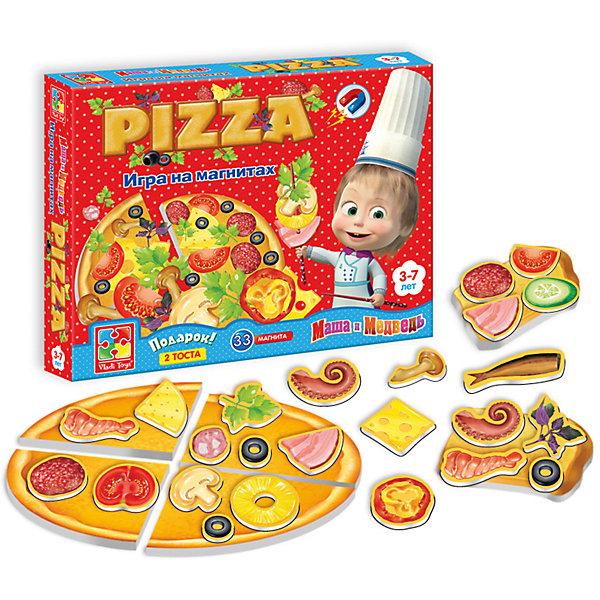 Игра на магнитах Пицца, Маша и Медведь, Vladi ToysОбучающие игры для дошкольников<br>Характеристики:<br><br>• возраст: от 3 лет;<br>• материал: картон, магнит;<br>• вес: 200 гр;<br>• размер: 25x20х4 см;<br>• бренд: Vladi Toys.<br><br>Игра на магнитах «Пицца», Маша и Медведь, Vladi Toys повторяет формы и кусочки уже знакомых ребенку продуктов. Задача малыша пофантазировать и приготовить такую пиццу, которую он сам бы съел с удовольствием, так вы узнаете о гастрономических предпочтениях ребенка, а в перспективе вместе сможете повторить рецепт с настоящими ингредиентами. <br><br>А может быть малыш захочет приготовить тосты? И это тоже легко осуществить вместе с нашей магнитной игрой!  Ингредиенты набора легко крепятся и отсоединяются, имеют более сотни различных комбинаций и рецептов. Интересные продукты и никаких ограничений. А самое приятное, что ваша кухня гарантировано, останется чистой.<br><br>Увлекательная игра для всей семьи. Она вряд ли сможет надоесть, ведь каждый раз, открывая коробочку, ваш ребенок будет фантазировать о том, какое блюдо он будет готовить в этот раз.<br><br>Игры на магнитах отлично способствуют развитию логики, мышления, фантазии. Ваш ребенок останется доволен и увлечен необычной и уникальной игрой.<br><br>Игру на магнитах «Пицца», Маша и Медведь, Vladi Toys можно купить в нашем интернет-магазине.<br>Ширина мм: 245; Глубина мм: 200; Высота мм: 35; Вес г: 195; Возраст от месяцев: 36; Возраст до месяцев: 84; Пол: Унисекс; Возраст: Детский; SKU: 4954096;