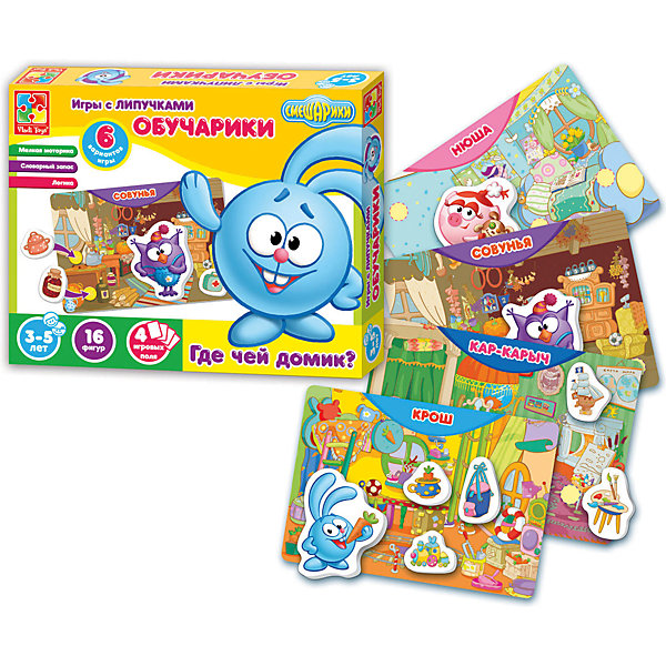 Vladi Toys Настольная игра Обучарики Где чей домик?, Смешарики, Vladi Toys free shipping 80 to 1000n force 580mm central distance 240 mm stroke pneumatic auto gas spring lift prop gas spring damper