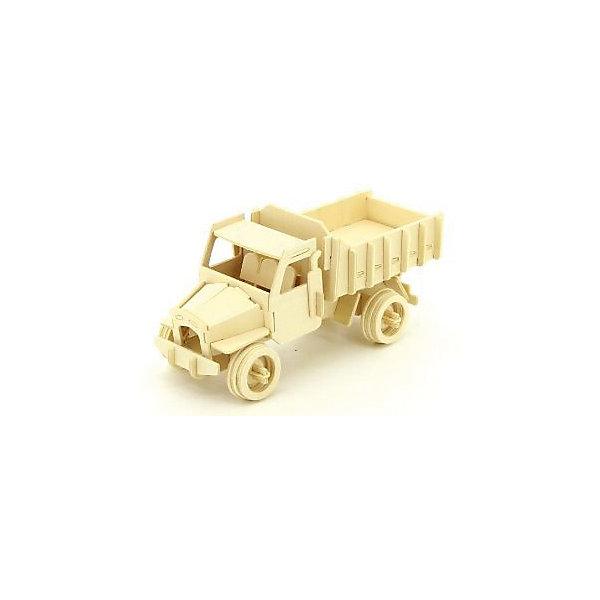Грузовик, Мир деревянных игрушекДеревянные модели<br>Отличный вариант подарка для любящего технику творческого ребенка - этот набор, из которого можно самому сделать красивую деревянную фигуру! Для этого нужно выдавить из пластины с деталями элементы для сборки и соединить их. Из наборов получаются красивые очень реалистичные игрушки, которые могут стать украшением комнаты.<br>Собирая их, ребенок будет развивать пространственное мышление, память и мелкую моторику. А раскрашивая готовое произведение, дети научатся подбирать цвета и будут развивать художественные навыки. Этот набор произведен из качественных и безопасных для детей материалов - дерево тщательно обработано.<br><br>Дополнительная информация:<br><br>материал: дерево;<br>цвет: бежевый;<br>элементы: пластины с деталями для сборки, схема сборки;<br>размер упаковки: 23 х 37 см.<br><br>3D-пазл Грузовик от бренда Мир деревянных игрушек можно купить в нашем магазине.<br>Ширина мм: 350; Глубина мм: 50; Высота мм: 225; Вес г: 450; Возраст от месяцев: 36; Возраст до месяцев: 144; Пол: Мужской; Возраст: Детский; SKU: 4969111;