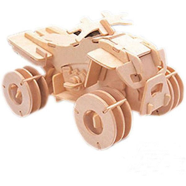 Квадроцикл, Мир деревянных игрушекДеревянные модели<br>Отличный вариант подарка для любящего технику творческого ребенка - этот набор, из которого можно самому сделать красивую деревянную фигуру! Для этого нужно выдавить из пластины с деталями элементы для сборки и соединить их. Из наборов получаются красивые очень реалистичные игрушки, которые могут стать украшением комнаты.<br>Собирая их, ребенок будет развивать пространственное мышление, память и мелкую моторику. А раскрашивая готовое произведение, дети научатся подбирать цвета и будут развивать художественные навыки. Этот набор произведен из качественных и безопасных для детей материалов - дерево тщательно обработано.<br><br>Дополнительная информация:<br><br>материал: дерево;<br>цвет: бежевый;<br>элементы: пластины с деталями для сборки, схема сборки;<br>размер упаковки: 23 х 37 см.<br><br>3D-пазл Квадроцикл от бренда Мир деревянных игрушек можно купить в нашем магазине.<br>Ширина мм: 350; Глубина мм: 50; Высота мм: 225; Вес г: 450; Возраст от месяцев: 36; Возраст до месяцев: 144; Пол: Унисекс; Возраст: Детский; SKU: 4969119;