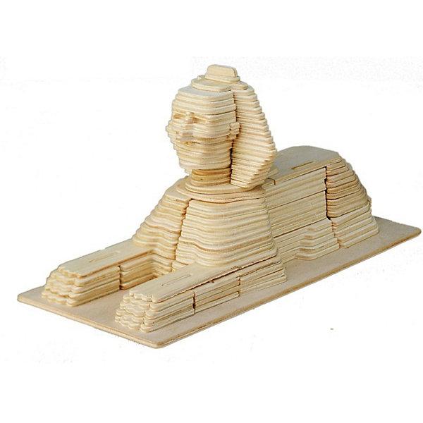 Сфинкс, Мир деревянных игрушекДеревянные модели<br>Отличный вариант подарка для любящего историю и архитектуру творческого ребенка - этот набор, из которого можно самому сделать красивую деревянную фигуру! Для этого нужно выдавить из пластины с деталями элементы для сборки и соединить их. Из наборов получаются красивые очень реалистичные игрушки, которые могут стать украшением комнаты.<br>Собирая их, ребенок будет развивать пространственное мышление, память и мелкую моторику. А раскрашивая готовое произведение, дети научатся подбирать цвета и будут развивать художественные навыки. Этот набор произведен из качественных и безопасных для детей материалов - дерево тщательно обработано.<br><br>Дополнительная информация:<br><br>материал: дерево;<br>цвет: бежевый;<br>элементы: пластины с деталями для сборки, схема сборки;<br>размер упаковки: 23 х 37 см.<br><br>3D-пазл Сфинкс от бренда Мир деревянных игрушек можно купить в нашем магазине.<br>Ширина мм: 350; Глубина мм: 50; Высота мм: 225; Вес г: 450; Возраст от месяцев: 36; Возраст до месяцев: 144; Пол: Унисекс; Возраст: Детский; SKU: 4969144;