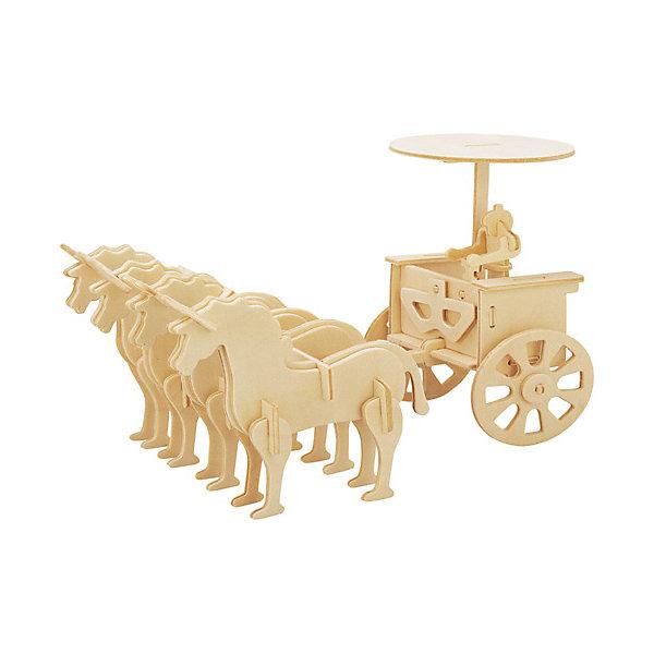 Прогулочная колесница, Мир деревянных игрушекДеревянные модели<br>Оригинальный вариант подарка для любящего историю творческого ребенка - этот набор, из которого можно самому сделать красивую деревянную фигуру! Для этого нужно выдавить из пластины с деталями элементы для сборки и соединить их. Из наборов получаются красивые очень реалистичные игрушки, которые могут стать украшением комнаты.<br>Собирая их, ребенок будет развивать пространственное мышление, память и мелкую моторику. А раскрашивая готовое произведение, дети научатся подбирать цвета и будут развивать художественные навыки. Этот набор произведен из качественных и безопасных для детей материалов - дерево тщательно обработано.<br><br>Дополнительная информация:<br><br>материал: дерево;<br>цвет: бежевый;<br>элементы: пластины с деталями для сборки, схема сборки;<br>размер упаковки: 23 х 37 см.<br><br>3D-пазл Прогулочная колесница от бренда Мир деревянных игрушек можно купить в нашем магазине.<br>Ширина мм: 350; Глубина мм: 50; Высота мм: 225; Вес г: 450; Возраст от месяцев: 36; Возраст до месяцев: 144; Пол: Унисекс; Возраст: Детский; SKU: 4969188;