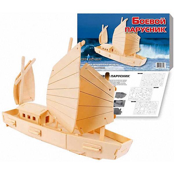 Боевой парусник, Мир деревянных игрушекДеревянные модели<br>Отличный  вариант подарка для любящего морские суда творческого ребенка - этот набор, из которого можно самому сделать красивую деревянную фигуру! Для этого нужно выдавить из пластины с деталями элементы для сборки и соединить их. Из наборов получаются красивые очень реалистичные игрушки, которые могут стать украшением комнаты.<br>Собирая их, ребенок будет развивать пространственное мышление, память и мелкую моторику. А раскрашивая готовое произведение, дети научатся подбирать цвета и будут развивать художественные навыки. Этот набор произведен из качественных и безопасных для детей материалов - дерево тщательно обработано.<br><br>Дополнительная информация:<br><br>материал: дерево;<br>цвет: бежевый;<br>элементы: пластины с деталями для сборки, схема сборки;<br>размер упаковки: 23 х 37 см.<br><br>3D-пазл Боевой парусник от бренда Мир деревянных игрушек можно купить в нашем магазине.<br>Ширина мм: 350; Глубина мм: 50; Высота мм: 225; Вес г: 450; Возраст от месяцев: 36; Возраст до месяцев: 144; Пол: Унисекс; Возраст: Детский; SKU: 4969211;