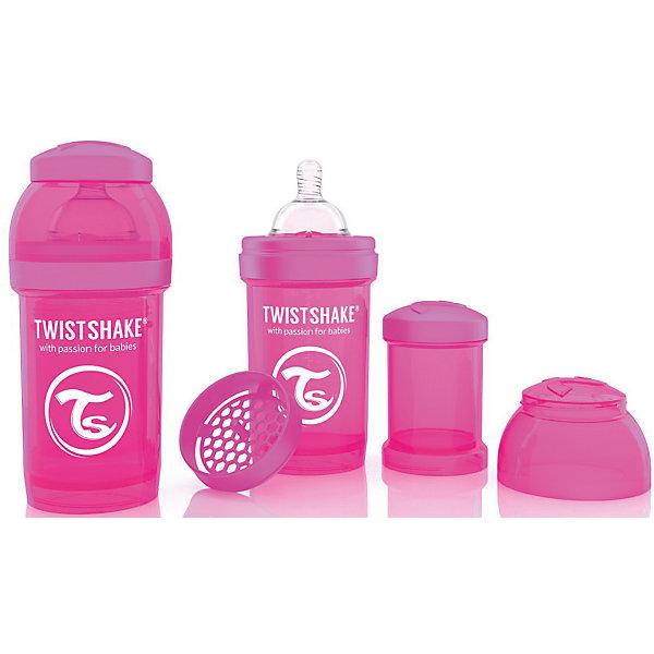 Антиколиковая бутылочка 180 мл., Twistshake, розовыйБутылочки и аксессуары<br>Антиколиковая бутылочка 180 мл., розовый от шведского бренда Twistshake (Твистшейк), придет по вкусу малышам и современным родителям. Эти бутылочки идут в комплекте с контейнером для сухой смеси, чтобы можно было готовить смесь в любом месте непосредсвенно перед кормлением. Также в комплект входит решеточка для разбивки комочков смеси, делая саму смесь идеальной. Материал бутылочки имеет свойства сохранения температуры, не содержит бисфенол А. Удобная форма горлышка обеспечивает доступ к полной промывки бутылочки, можно стерилизовать как холодным, так и горячим методами. Небольшой контейнер для смеси (100 мл.) можно использовать для хранения еды, например печенья или кусочков яблока. Соска бутылочки имеет ортодонтичную форму, благодаря специальному клапану и строению предотвращает попадание воздуха и снижает вероятность появления коликов у крохи. Все предметы складываются в бутылочку для удобной транспортировки и хранения. Также можно купить бутылочки разных цветов и комбинировать их в любимые цветовые сочетания.<br><br>Дополнительная информация:<br><br>- В комплект входит: бутылочка с соской 180 мл., контейнер с крышкой 100 мл., решетка, крышка для бутылочки.<br>- Состав бутылочки: 100% пропиллен<br>- Состав соски: силикон<br><br>Антиколиковую бутылочку 180 мл., Twistshake, розовый можно купить в нашем интернет-магазине.<br>Подробнее:<br>• Для детей в возрасте: от 0 до 1 года<br>• Номер товара: 4976038<br>Страна производитель: Китай<br>Ширина мм: 70; Глубина мм: 70; Высота мм: 160; Вес г: 152; Возраст от месяцев: 0; Возраст до месяцев: 12; Пол: Унисекс; Возраст: Детский; SKU: 4976038;
