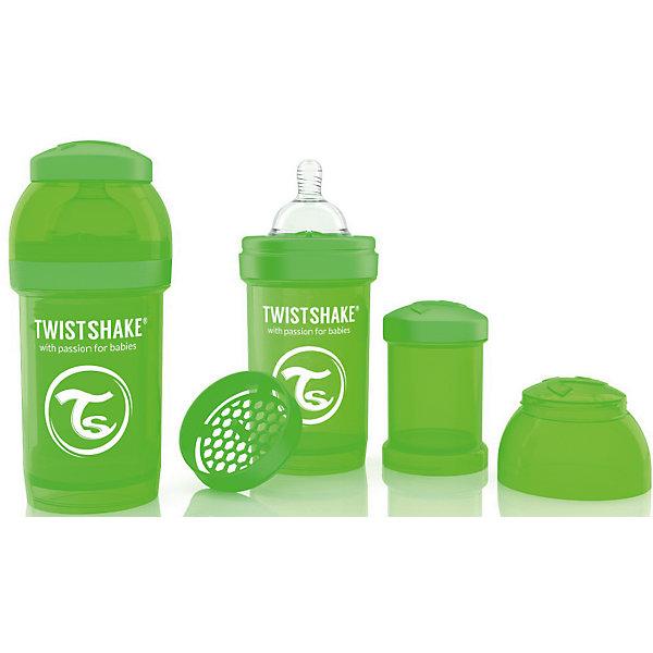 Антиколиковая бутылочка 180 мл., Twistshake, зелёныйБутылочки и аксессуары<br>Антиколиковая бутылочка 180 мл., зелёный от шведского бренда Twistshake (Твистшейк), придет по вкусу малышам и современным родителям. Эти бутылочки идут в комплекте с контейнером для сухой смеси, чтобы можно было готовить смесь в любом месте непосредсвенно перед кормлением. Также в комплект входит решеточка для разбивки комочков смеси, делая саму смесь идеальной. Материал бутылочки имеет свойства сохранения температуры, не содержит бисфенол А. Удобная форма горлышка обеспечивает доступ к полной промывки бутылочки, можно стерилизовать как холодным, так и горячим методами. Небольшой контейнер для смеси (100 мл.) можно использовать для хранения еды, например печенья или кусочков яблока. Соска бутылочки имеет ортодонтичную форму, благодаря специальному клапану и строению предотвращает попадание воздуха и снижает вероятность появления коликов у крохи. Все предметы складываются в бутылочку для удобной транспортировки и хранения. Также можно купить бутылочки разных цветов и комбинировать их в любимые цветовые сочетания.<br><br>Дополнительная информация:<br><br>- В комплект входит: бутылочка с соской 180 мл., контейнер с крышкой 100 мл., решетка, крышка для бутылочки.<br>- Состав бутылочки: 100% пропиллен<br>- Состав соски: силикон<br><br>Антиколиковую бутылочку 180 мл., Twistshake, зелёный можно купить в нашем интернет-магазине.<br>Подробнее:<br>• Для детей в возрасте: от 0 до 1 года<br>• Номер товара: 4976041<br>Страна производитель: Китай<br>Ширина мм: 70; Глубина мм: 70; Высота мм: 160; Вес г: 152; Возраст от месяцев: 0; Возраст до месяцев: 12; Пол: Унисекс; Возраст: Детский; SKU: 4976041;
