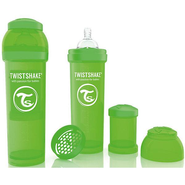 Антиколиковая бутылочка 330 мл., Twistshake, зелёныйБутылочки и аксессуары<br>Антиколиковая бутылочка 330 мл., зелёный от шведского бренда Twistshake (Твистшейк), придет по вкусу малышам и современным родителям. Эти бутылочки идут в комплекте с контейнером для сухой смеси, чтобы можно было готовить смесь в любом месте непосредсвенно перед кормлением. Также в комплект входит решеточка для разбивки комочков смеси, делая саму смесь идеальной. Материал бутылочки имеет свойства сохранения температуры, не содержит бисфенол А. Удобная форма горлышка обеспечивает доступ к полной промывки бутылочки, можно стерилизовать как холодным, так и горячим методами. Небольшой контейнер для смеси (100 мл.) можно использовать для хранения еды, например печенья или кусочков яблока. Соска бутылочки имеет ортодонтичную форму, благодаря специальному клапану и строению предотвращает попадание воздуха и снижает вероятность появления коликов у крохи. Все предметы складываются в бутылочку для удобной транспортировки и хранения. Также можно купить бутылочки разных цветов и комбинировать их в любимые цветовые сочетания.<br><br>Дополнительная информация:<br><br>- В комплект входит: бутылочка с соской 330 мл., контейнер с крышкой 100 мл., решетка, крышка для бутылочки.<br>- Размер соски: L<br>- Состав бутылочки: 100% пропиллен<br>- Состав соски: силикон<br><br>Антиколиковую бутылочку 330 мл., Twistshake, зелёный можно купить в нашем интернет-магазине.<br>Подробнее:<br>• Для детей в возрасте: от 4 месяцев <br>• Номер товара: 4976053<br>Страна производитель: Китай<br>Ширина мм: 70; Глубина мм: 70; Высота мм: 220; Вес г: 176; Возраст от месяцев: 4; Возраст до месяцев: 12; Пол: Унисекс; Возраст: Детский; SKU: 4976053;