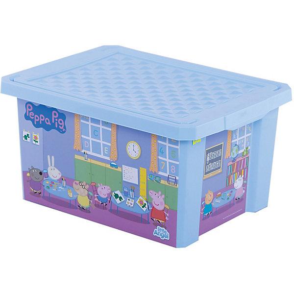 цена на Little Angel Ящик для хранения игрушек X-BOX Свинка Пеппа 17л, Little Angel, голубой