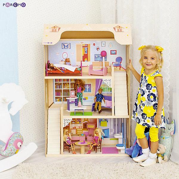 Домик для Барби Paremo Шарм с аксессуарамиДомики для кукол<br>Характеристики:<br><br>• материал: 100% дерево, ни одного пластикового элемента в каркасе и мебели.<br>• пристенная конструкция: задняя часть домика глухая, а передняя – открыта.<br>• 3 этажа и 4 просторные комнаты<br>• окна в виде больших белых рам по бокам дома и большое окно-наклейка в гостиной.<br>• цвет домика максимально приближен к цвету натуральной древесины.<br>• для кукол высотой до 30 см<br>• инструкция по сборке входит в комплект.<br>• размер в собранном виде - 82х33х120 см.<br>• размер упаковки - 88х36х30 см.<br>• вес 16 кг.<br>ВНИМАНИЕ! Куклы, кукольная одежда и транспорт, а также текстиль приобретаются отдельно!<br><br>В комплекте:<br>• 16 аксессуаров: раковина, унитаз (крышка поднимается), круглый обеденный стол, 2 стула, кухонная плита (дверца духового шкафа открывается, верхняя полка выдвигается), кухонная мойка (боковые дверцы открываются), диван, журнальный столик, открытый шкафчик, часы, настольная лампа, 2 кровати, колыбель, торшер.<br><br>Домик для Барби Шарм, с аксессуарами, PAREMO – игрушка от российского производителя. . На первом этаже располагаются кухня-столовая и ванная комната, на втором – гостиная, на третьем – кукольная спальня. Между этажами куклы передвигаются по лестнице. Лестница имеет флоковое покрытие, бархатистое и мягкое на ощупь, создающее ощущение уюта и мягкости. По бокам домик украшают цветочные вазы и белоснежный резной балкон.<br>Материалы, из которых изготовлен домик, полностью соответствуют российским стандартам безопасности. С домиком можно играть на улице, краски не выцветают на солнце и не портятся от дождя.