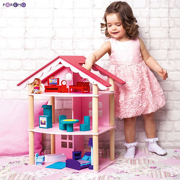Купить Кукольный домик Paremo Роза Хутор с мебелью, 15 предметов, Россия, Женский