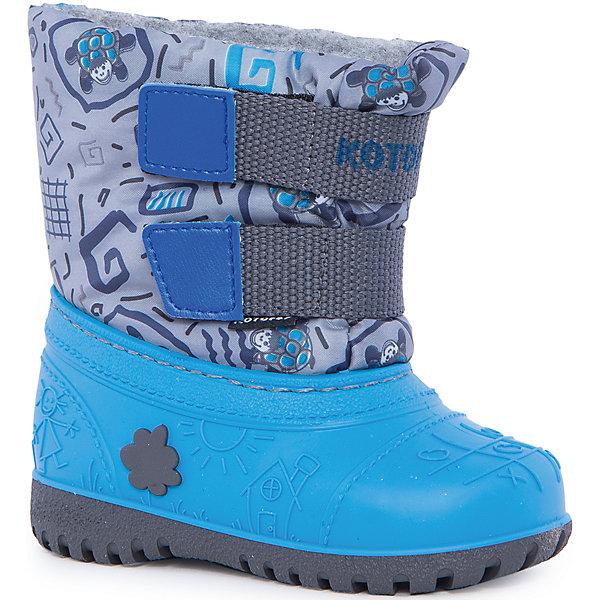 Сапоги для мальчика КотофейСноубутсы<br>Котофей – качественная и стильная детская обувь по доступным ценам. С каждым днем популярность бренда растет.  При выборе обуви важно следить, чтобы модель была не только красивой и удобной, то и теплой, а так же защищала ножки малыша от промокания. Сочетание резиновых сапог и теплых зимних ботинок создало уникальную модель из новой коллекции.<br><br>Дополнительная информация:<br><br>цвет: серо-голубой;<br>вид крепления: прошивной;<br>застежка: липучка;<br>температурный режим: от -15 °С до +5° С.<br><br>Состав:<br>материал верха – комбинированный;<br>подкладка – мех шерстяной;<br>подошва – мегол.<br><br>Зимние сапожки из прочных и качественных материалов для мальчика ясельного возраста от фирмы Котофей можно приобрести у нас в магазине.<br>Ширина мм: 257; Глубина мм: 180; Высота мм: 130; Вес г: 420; Цвет: сине-серый; Возраст от месяцев: 12; Возраст до месяцев: 18; Пол: Мужской; Возраст: Детский; Размер: 21/22,25/26,23/24; SKU: 4982365;