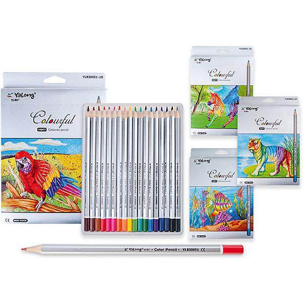 Цветные карандаши, 18 цветовПоследняя цена<br>Набор цветных карандашей – классический пункт в списке школьных покупок. Качественные карандаши прослужат ребенку не один год даже при активном использовании. Важно подобрать набор с яркими цветами, мягким, но прочным стержнем и грифелем с легкой растушевкой. Данная модель набора цветных карандашей – отличный выбор для обновки школьного пенала. Карандаши имеют шестигранный серебряный корпус. Упаковка выполнена с использованием объемного рисунка и выборочной лакировки. Все материалы, использованные при изготовлении, отвечают международным требованиям по качеству и безопасности.<br><br>Дополнительная информация: <br>количество цветов: 18 шт;<br>дизайн упаковки в ассортименте.<br><br>Набор цветных карандашей можно приобрести в нашем магазине.<br>Ширина мм: 100; Глубина мм: 100; Высота мм: 10; Вес г: 50; Возраст от месяцев: 36; Возраст до месяцев: 120; Пол: Унисекс; Возраст: Детский; SKU: 4993557;