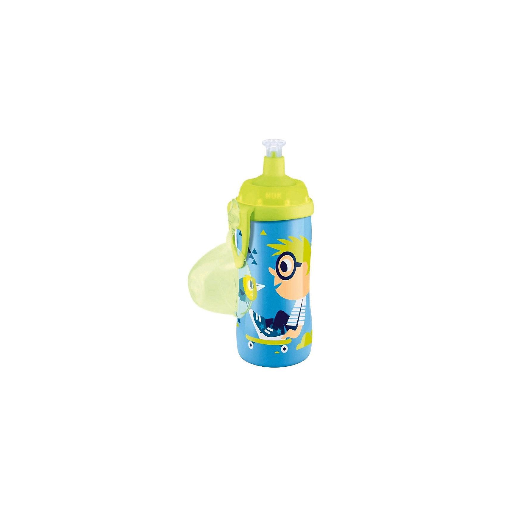 Поильник с насадкой Тяни-Толкай, Мальчик с птичкой, 300 мл., NUK, синий/зеленый
