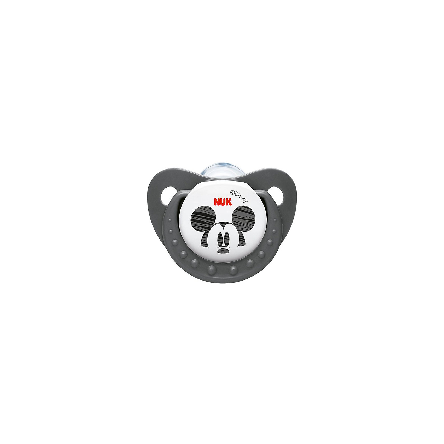Пустышка силиконовая успокаивающая Disney Микки Маус, 0-6 мес., NUK, черный/белый
