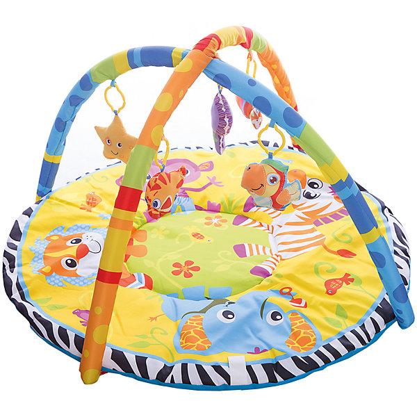 Детский игровой коврик с мягкими игрушками на подвеске, УмкаРазвивающие коврики<br>Детский игровой коврик с мягкими игрушками на подвеске изготовлен из мягкого текстиля с уплотнением и оформлен яркими изображениями забавных зверят. На цветных полукруглых дугах прикреплены привлекательные игрушки, которые можно снять и играть с ними отдельно. <br>Развивающий коврик подарит ребенку возможность весело провести время дома или на свежем воздухе. А также поможет в игровой форме развить цветовое и зрительное восприятие, мелкую моторику рук и координацию движения.<br> <br>В комплект входит:<br>-коврик<br>-две дуги<br>-подвесные игрушки<br><br>Дополнительная информация:<br>-Вес: 1,13 кг<br>-Возраст: от 6 месяцев<br>-Материал: текстиль пластик<br>-Марка: Умка<br><br>Детский игровой коврик с мягкими игрушками на подвеске, Умка можно приобрести в нашем интернет-магазине.<br>Ширина мм: 80; Глубина мм: 460; Высота мм: 580; Вес г: 1130; Возраст от месяцев: 36; Возраст до месяцев: 2147483647; Пол: Унисекс; Возраст: Детский; SKU: 5002206;