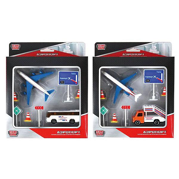Набор Аэропорт с металлическим самолетом и машиной, ТехнопаркСамолёты и вертолёты<br>Характеристики:<br><br>• тип игрушки: набор;<br>• возраст: от 3 лет;<br>• размер: 4х18х22 см;<br>• цвет: синий;<br>• комплектация: самолет, автобус или трап, 2 знака, 3 конуса, указатель;<br>• материал: металл, пластик;<br>• бренд: Технопарк;<br>• страна производителя: Китай.<br><br>Технопарк «Аэропорт с металлическим самолетом и машиной»  имеет транспортные средства, которые напоминают самолет и спецтехнику из аэропорта: автобус или трап. На корпусе игрушек предусмотрены характерные элементы данного вида транспорта: подкрылки, прозрачные окна, лестница для подъема на борт. Игрушки выглядят очень реалистично и в точности повторяют внешний вид самолета и сопроводительной техники из аэропорта. <br>Машинки и самолёт достаточно быстро ездят по ровной поверхности, так как оснащены широкими вращающимися колесами с рельефными протекторами. На корпусе игрушек размещены декоративные наклейки, а окрашены они в яркие цвета стойкими красителями. В комплекте также предусмотрены предупреждающие конусы и знаки, которые помогут разнообразить сюжеты игры с набором и сделают их намного реалистичнее.<br>Тематические игры с интересными сюжетами разбудят воображение ребёнка, а манипуляции с игрушкой потренируют мелкую моторику пальцев рук. Масштабные модели от компании «Технопарк» отличаются качественными ударопрочными материалами, продлевающими долговечность изделия тщательным исполнением со вниманием ко всем деталям, и имеют требуемые сертификаты соответствия для детских игрушек.<br><br>Технопарк «Аэропорт с металлическим самолетом и машиной»  можно купить в нашем интернет-магазине.