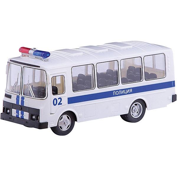 Автобус, ТехнопаркМашинки<br>Характеристики:<br><br>• тип игрушки: машина;<br>• возраст: от 3 лет;<br>• размер: 15х11х25 см;<br>• цвет: белый;<br>• материал: металл, пластик;<br>• бренд: Технопарк;<br>• страна производителя: Китай.<br><br>Машина Технопарк «Автобус»  выполнена миниатюрной, реалистично исполненной копией автобуса ПАЗ в дизайне специального транспорта подразделения полиции. Двери салона открываются, благодаря чему можно рассмотреть, как тщательно автобус выполнен внутри.<br><br>Игрушка снабжена звуковыми и световыми эффектами: если нажать на кнопку на корпусе игрушки, то можно услышать звук сигнализации, работающего двигателя, музыкальную мелодию и увидеть мигающие фары. Модель снабжена инерционным механизмом, позволяющим ей самостоятельно проезжать некоторые расстояния, если её слегка откатить назад и отпустить.<br><br>Тематические игры с интересными сюжетами разбудят воображение ребёнка, а манипуляции с игрушкой потренируют мелкую моторику пальцев рук. Масштабные модели от компании «Технопарк» отличаются качественными ударопрочными материалами, продлевающими долговечность изделия тщательным исполнением со вниманием ко всем деталям, и имеют требуемые сертификаты соответствия для детских игрушек.<br><br>Машину Технопарк «Автобус»  можно купить в нашем интернет-магазине.<br>Ширина мм: 110; Глубина мм: 150; Высота мм: 250; Вес г: 420; Возраст от месяцев: 36; Возраст до месяцев: 2147483647; Пол: Мужской; Возраст: Детский; SKU: 5002233;