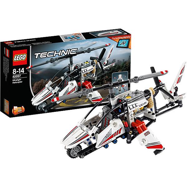 LEGO Technic 42057: Сверхлёгкий вертолётПластмассовые конструкторы<br>LEGO Technic 42057: Сверхлёгкий вертолёт<br><br>Характеристики:<br><br>- в набор входит: детали вертолёта, наклейки, инструкция по сборке<br>- состав: пластик<br>- количество деталей: 199<br>- приблизительное время сборки: 40 мин.<br>- размер вертолёта: 25 * 12 * 18 см.<br>- размер самолёта: 25 * 12 * 18 см.<br>- для детей в возрасте: от 8 до 14 лет<br>- Страна производитель: Дания/Китай/Чехия<br><br>Легендарный конструктор LEGO (ЛЕГО) представляет серию «Technic», которая бросает вызов уже опытным строителям ЛЕГО. <br><br>Ваш ребенок может строить продвинутые модели с реальными функциями, такими как коробки передач и системы рулевого управления. В набор включена деталь, посвященная сорокалетию серии. Наслаждайтесь строительством нового одноместного сверхлёгкого вертолета с открытой кабиной, а также крутящимися верхними и боковыми лопастями. Эта реалистичная модель необычного вертолёта может быть перестраивается в экспериментальный самолёт и обе модели имеют дополнительные объемные интерактивные инструкции на веб-сайте ЛЕГО. <br><br>Очень детализированнные наклейки корпуса и кабины пилота добавляют реалистичности вертолёту. Боковые и верхние лопасти крутятся благодаря механизму с шестерёнками, в вертолете так же имитируется работа двигателя. Направляющий хвост вертолёта двигается с помощью дополнительного механизма. Отличное сочетание функций и количества деталей позволит играть сразу с двумя моделями. <br><br>Играя с конструктором ребенок развивает моторику рук, воображение и логическое мышление, научится собирать по инструкции и создавать свои модели. Принимайте новые вызовы по сборке моделей и придумывайте новые истории с набором LEGO «Technic»!<br><br>Конструктор LEGO Technic 42057: Сверхлёгкий вертолёт можно купить в нашем интернет-магазине.<br>Ширина мм: 263; Глубина мм: 142; Высота мм: 50; Вес г: 302; Возраст от месяцев: 96; Возраст до месяцев: 168; Пол: Мужской; Возраст: Детский; SKU: 5002