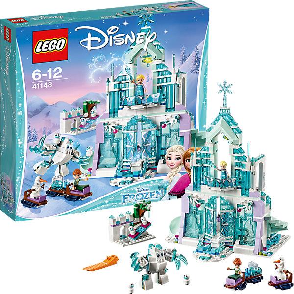 LEGO Disney Princesses 41148: Волшебный ледяной замок ЭльзыПластмассовые конструкторы<br>LEGO Disney Princesses 41148: Волшебный ледяной замок Эльзы<br><br>Характеристики:<br><br>- в набор входит: детали замка и Зефира, фигурки Анны, Эльзы, Олафа и трех снеговиков, наклейки, аксессуары, красочная инструкция<br>- состав: пластик<br>- количество деталей: 701<br>- размер упаковки: 38 * 7 * 36 см.<br>- размер замка: 31 *19 * 30 см.<br>- размер площадки с качелями: 20 * 6 * 4 см.<br>- для детей в возрасте: от 6 до 12 лет<br>- Страна производитель: Дания/Китай/Чехия<br><br>Легендарный конструктор LEGO (ЛЕГО) представляет серию «Disney Princesses» (Принцессы Диснея) в которую входят наборы конструкторов о принцессах и героях из мультфильмов компании Дисней. Постройте большой сияющий дворец для Эльзы и Анны! <br><br>Благодаря небольшому механизму дверцы дворца открываются и выдвигаются ступени для входа во дворец, на ступенях при этом может стоять сама Эльза, приветствуя свою сестру в гости. Механизм правой части дворца выдвигает винтовые ступени лестницы второго этажа, а слева расположена горка с деталью специально выпущенной компанией ЛЕГО для этого набора. Аксессуары набора включают в себя все необходимое для чаепития - красивые бокалы, розовый чайник, шоколадка, десерт с мороженным, а так же вкусный торт. В замке оборудована небольшая кухня с раковиной и столиком для приготовления, шкафчик в столике открывается. Небольшой постамент с сияющими нотами помогает Эльзе совершенствоваться в пении. Второй этаж включает коврик, шкаф с отражающими блестящими частями и кровать для хозяйки. Красивая ледяная люстра переливается и сияет. Фигурки Эльзы и Анны могут сидеть и двигать головами, в рельефные прически могут вставляться украшения, костюмы отлично прорисованы, а образ Эльзы дополнен блестящим плащом. <br><br>Сборная фигура Зефира состоит из белых и голубых прозрачных деталей, его ноги и руки выполнены на шарнирах и могут двигаться, так же как и пальцы. Зефир может катать сес