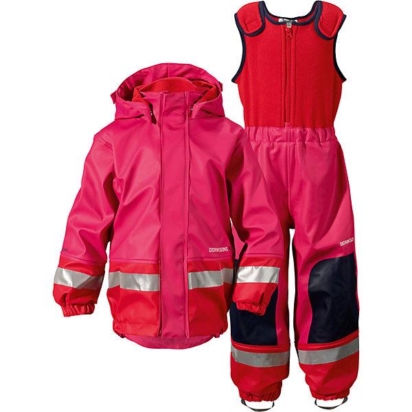 Непромокаемый комплект Boardman: куртка и брюки для девочки DIDRIKSONSВерхняя одежда<br>Характеристики товара:<br><br>• цвет: розовый<br>• материал: 100% полиуретан, подкладка - 100% полиэстер<br>• утеплитель: 60 г/м<br>• температура: от 0° до +7 ° С<br>• непромокаемая ткань<br>• подкладка из флиса<br>• проклеенные швы<br>• регулируемый съемный капюшон<br>• регулируемый пояс брюк<br>• фронтальная молния под планкой<br>• светоотражающие детали<br>• зона коленей усилена дополнительным слоем ткани<br>• грязь легко удаляется с помощью влажной губки или ткани<br>• резинки для ботинок<br>• страна бренда: Швеция<br>• страна производства: Китай<br><br>Такой непромокаемый костюм понадобится в холодную и сырую погоду! Он не только стильный, но еще и очень комфортный. Костюм обеспечит ребенку удобство при прогулках и активном отдыхе в межсезонье или оттепель. Такая модель от шведского производителя легко чистится, она оснащена разными полезными деталями.<br>Материал костюма - непромокаемый, швы дополнительно проклеены. Очень стильная и удобная модель! Изделие качественно выполнено, сделано из безопасных для детей материалов. <br><br>Комплект: куртку и полукомбинезон для девочки  от бренда DIDRIKSONS можно купить в нашем интернет-магазине.<br>Ширина мм: 356; Глубина мм: 10; Высота мм: 245; Вес г: 519; Цвет: розовый; Возраст от месяцев: 6; Возраст до месяцев: 12; Пол: Женский; Возраст: Детский; Размер: 70,140,90,80,100; SKU: 5003847;