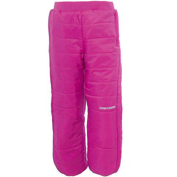 Брюки Kilpa для девочки DIDRIKSONSВерхняя одежда<br>Характеристики товара:<br><br>• цвет: розовый<br>• материал: 100% полиэстер, подкладка 100% полиэстер<br>• стеганые<br>• температурный режим от +5 до +20, можно использовать в качестве поддёвы<br>• резинка на поясе<br>• страна бренда: Швеция<br>• страна производства: Китай<br><br>Такие стеганые брюки сейчас очень популярны у детей! Это не только стильно, но еще и очень комфортно, а также тепло. Качественные флисовые брюки обеспечат ребенку удобство при прогулках и активном отдыхе в прохладные дне, в межсезонье или зимой. Такая модель от шведского производителя легко стирается, подходит под разные погодные условия.<br>Модель сшита из качественной ткани, дополнена мягкой широкой резинкой на поясе. Очень стильная и удобная модель! Изделие качественно выполнено, сделано из безопасных для детей материалов. <br><br>Брюки для девочки от бренда DIDRIKSONS можно купить в нашем интернет-магазине.<br>Ширина мм: 215; Глубина мм: 88; Высота мм: 191; Вес г: 336; Цвет: лиловый; Возраст от месяцев: 12; Возраст до месяцев: 15; Пол: Женский; Возраст: Детский; Размер: 80,120,90,100,110,140,130; SKU: 5003995;