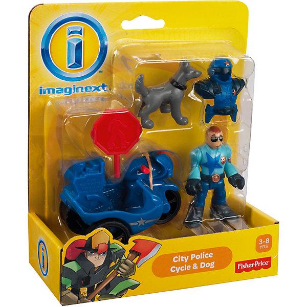 """Mattel Игровой набор Fisher Price """"Imaginext"""" Городские спасатели, Полицейский на мотоцикле и собака"""