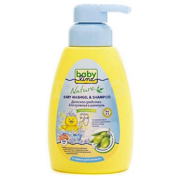 Средство для купания и шампунь BabyLine Nature с маслом оливы 260 мл.