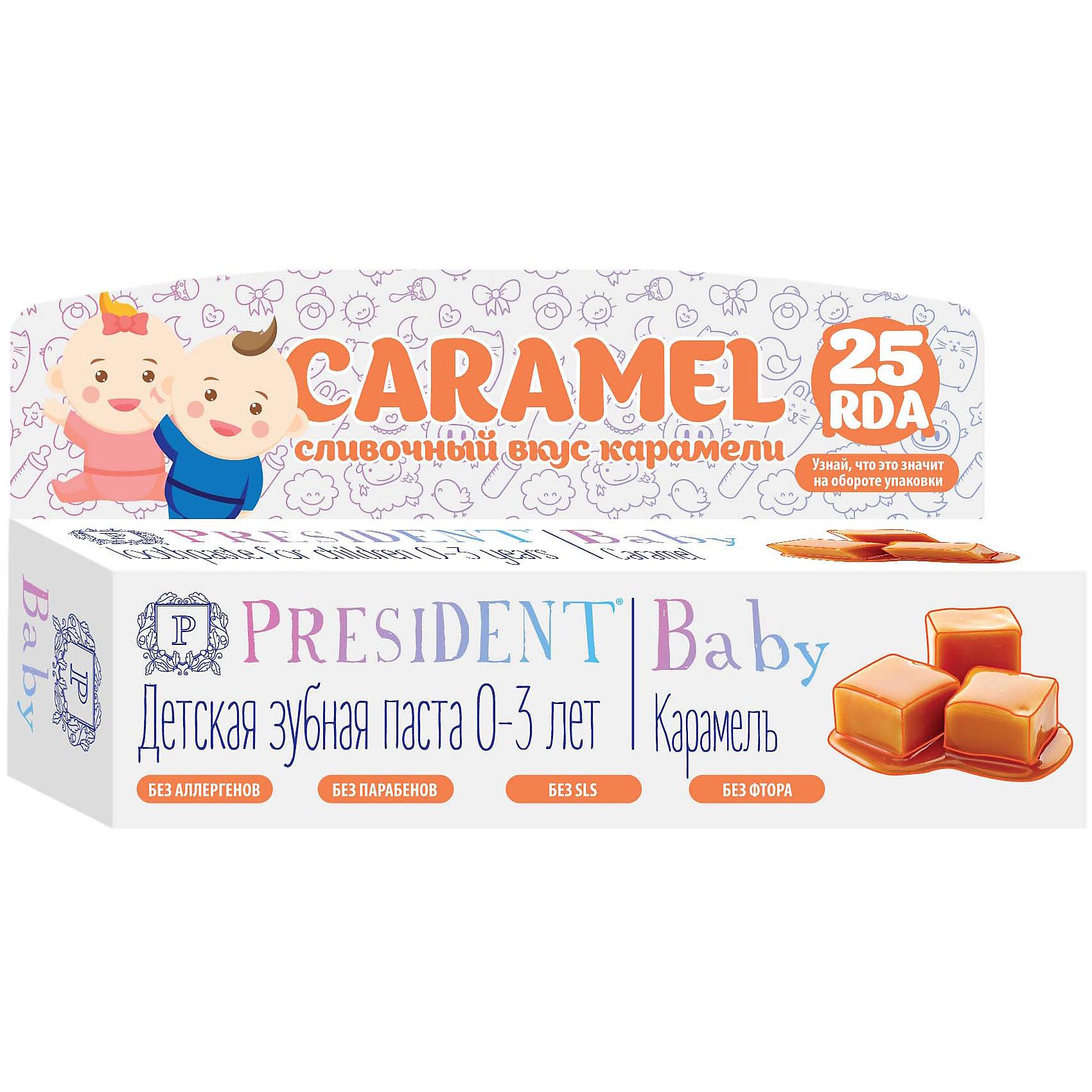 Детская зубная паста  Baby 0-3 карамель б/фтора 30 мл, PRESIDENT
