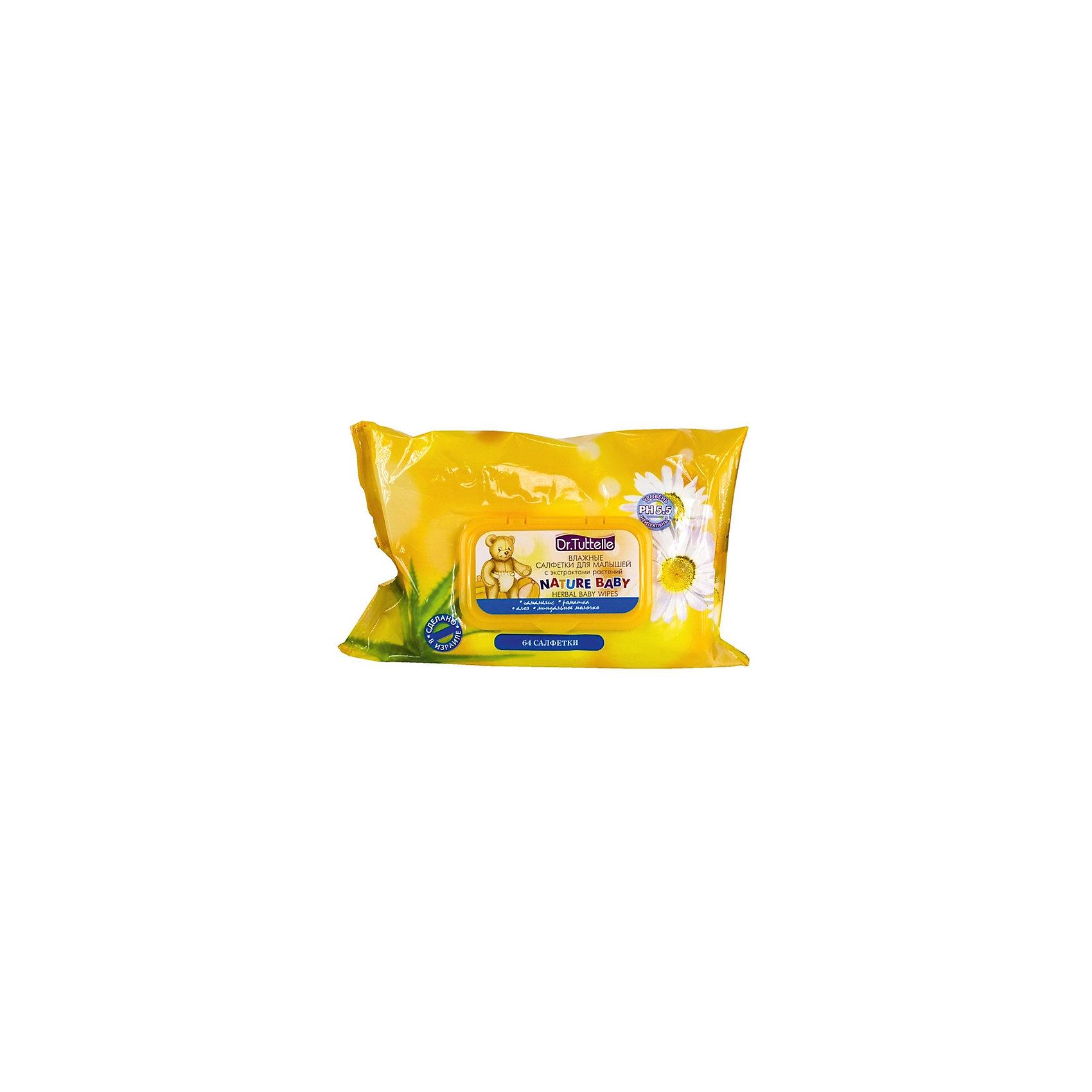 DR. TUTTELLЕ Влажные салфетки для малышей с экстрактами растений (с флип-топом) 64 шт, Dr. Tuttelle