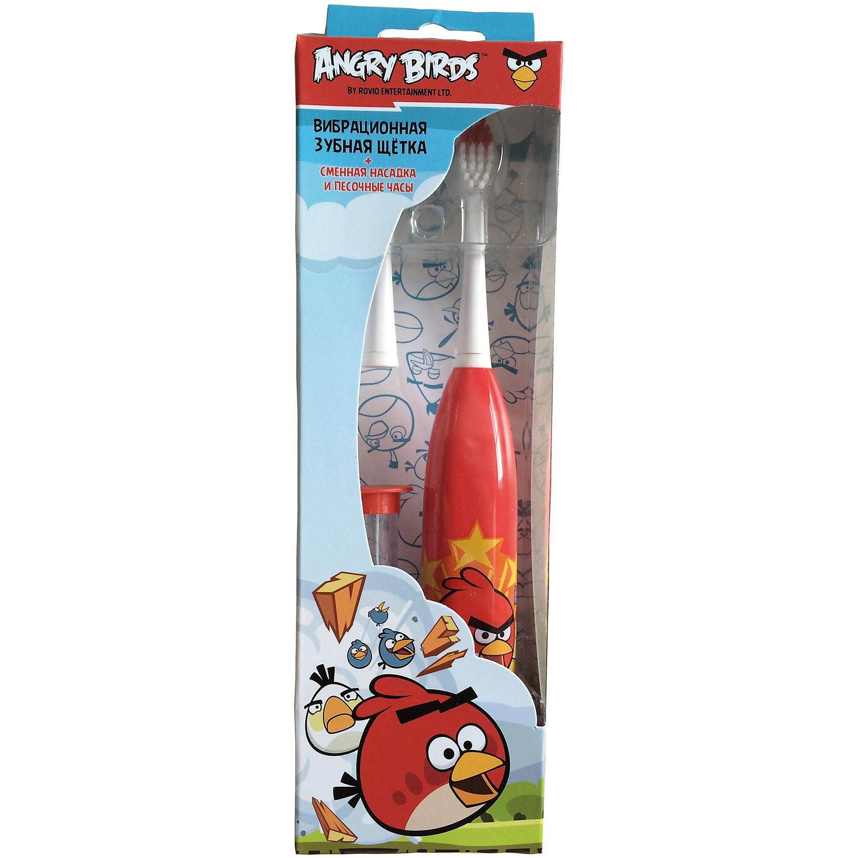 Зубная щетка электрическая для детей от 3-х лет, +сменная головка+песочные часы+батарейка,  Angry Birds, LONGA VITA, красн