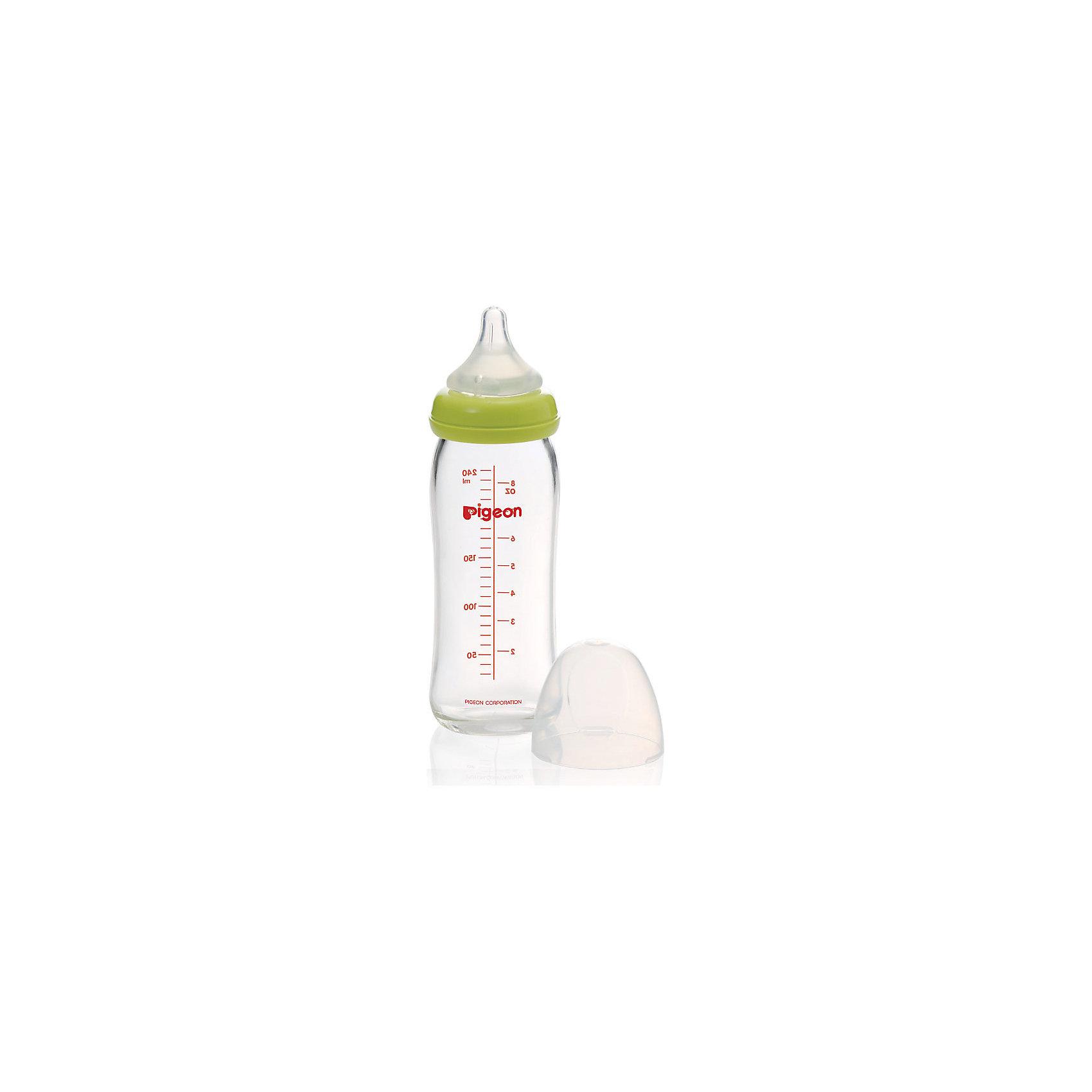 Бутылочка Перистальтик Плюс с широким горлышком 240мл, стекло, Pigeon