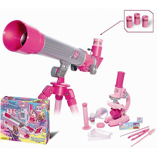 Телескоп и микроскоп для девочек (35 предметов), EastcolightМикроскопы<br>Телескоп и микроскоп для девочек (35 предметов) – развивающая игрушка, выполненная в розовом цвете, который должен понравиться юным любительницам естественных наук. <br><br>Микроскоп позволяет получить увеличение 100х, 200х, 450х, телескоп – 20х, 30х, 40х. Диаметр объектива - 30 мм. Фокусное расстояние - 400 мм. Телескоп оснащен штативом, позволяющим изменять угол наклона трубы с объективом. К микроскопу прилагаются принадлежности для исследований. Требуются батарейки (в комплект не входят).<br><br>Бренд: Eastcolight<br>Вес: 1,250 г<br>Инд. упаковка: коробка<br>Материал: пластик, стекло<br>Размеры ДхВхШ: 43,8 х 7,6 х 39,5<br>Ширина мм: 395; Глубина мм: 76; Высота мм: 438; Вес г: 1250; Возраст от месяцев: 96; Возраст до месяцев: 192; Пол: Женский; Возраст: Детский; SKU: 5011466;