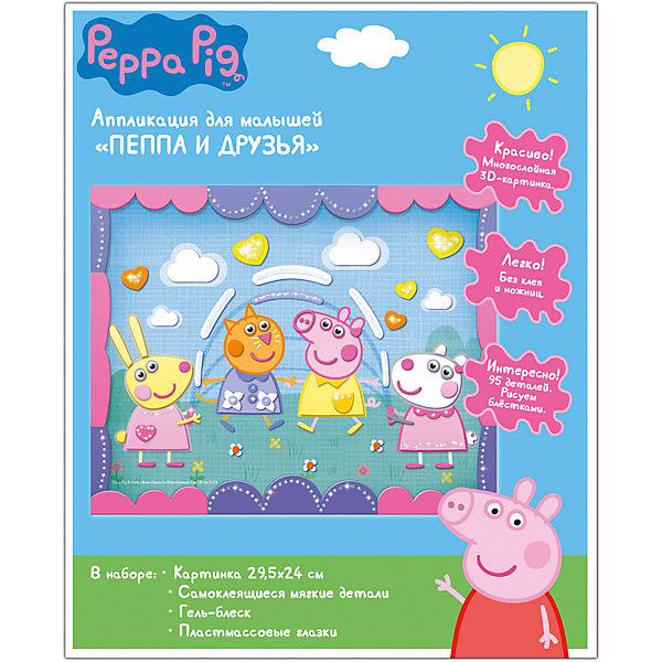 Аппликация ПЕППА И ДРУЗЬЯ, 29,5X24смАппликации из бумаги<br>Предложите своему малышу создать красивую аппликацию «Пеппа и друзья» ТМ «Peppa Pig». Рассмотрите картинку и позвольте ребенку самостоятельно выбрать детали, которые будут в находиться в нижнем слое. Снимите с выбранного фрагмента защитный слой бумаги и вклейте деталь в контур рисунка, объяснив последовательность создания картинки. Остальные элементы нужно наклеить слоями. Обращайте внимание крохи на готовую картинку на упаковке. Если он ошибся, деталь можно переклеить, пока клей не подсох. Просите малыша назвать цвет детали, проговаривать, большая она или маленькая, куда ее приклеиваете. Затем украсьте картинку гелем-блеском. Обязательно похвалите ребенка и поставьте готовую картинку на самое видное место!<br>В наборе для аппликации: картонная цветная картинка (29,5х24 см), набор самоклеящихся деталей для аппликации из мягкого материала ЭВА, пластмассовые вращающиеся глазки, гель-краска с блестками. Товар сертифицирован. Срок годности – 5 лет.<br>Ширина мм: 300; Глубина мм: 240; Высота мм: 7; Вес г: 77; Возраст от месяцев: 84; Возраст до месяцев: 108; Пол: Унисекс; Возраст: Детский; SKU: 5016357;