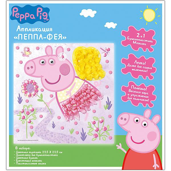 Аппликация ПЕППА ФЕЯ,23,5*23,5cмАппликации из бумаги<br>Игровой набор «Пеппа-фея» - это веселая игра и эффективное упражнение для пальчиков малыша, включающее бумагопластику и мозаику. Скатайте из тонкой цветной бумаги шарики или сомните ее. Снимите защитный слой с картонной заготовки и выложите цветные шарики на клеевую основу. Прикрепите получившуюся аппликацию к цветной картинке с помощью двустороннего скотча, приклейте пластиковые глазки и украсьте поделку цветными деталями мозаики. Очаровательная 3D-картинка готова! А главное – это по силам даже самым маленьким.<br>В наборе для аппликации «Пеппа-фея» ТМ «Свинка Пеппа»: цветная картонная картинка (23х23 см), фигурка Пеппы с клеевой основой, набор цветной бумаги для бумагопластики, блестящие детали мозаики из мягкого, приятного на ощупь материала ЭВА, пластмассовые вращающиеся глазки, двухсторонний скотч. Товар сертифицирован.<br>Ширина мм: 255; Глубина мм: 240; Высота мм: 2; Вес г: 64; Возраст от месяцев: 84; Возраст до месяцев: 108; Пол: Унисекс; Возраст: Детский; SKU: 5016367;