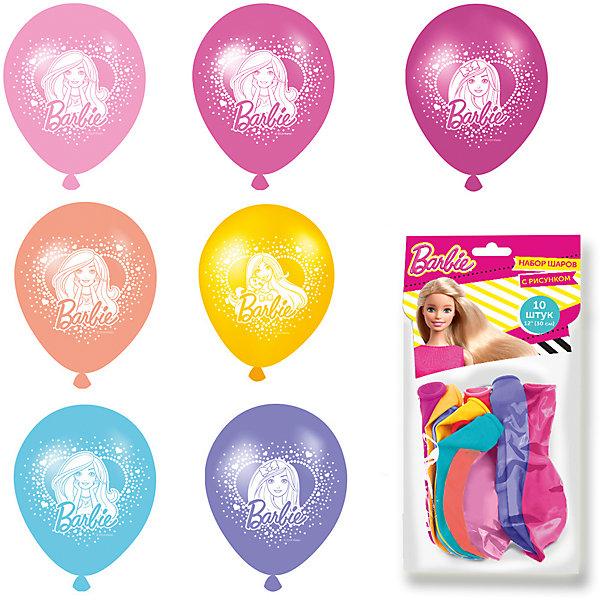Набор шаров с рисунком 30см, 10 шт. BarbieВоздушные шары<br>Разноцветные шарики с очаровательной Барби украсят любой праздник и помогут организовать множество увлекательных конкурсов, даря прекрасное настроение всем - и детям, и взрослым. А надувание шаров еще и чрезвычайно полезно: такое упражнение развивает дыхательную систему, что благотворно влияет на работу всего организма.<br>В наборе «Barbie» 10 разноцветных латексных шаров диаметром 30 см c односторонней печатью (3 дизайна). Цвета шаров в ассортименте. Упаковка – пакет с хедером. Товар сертифицирован.<br>Ширина мм: 220; Глубина мм: 150; Высота мм: 10; Вес г: 48; Возраст от месяцев: 36; Возраст до месяцев: 120; Пол: Унисекс; Возраст: Детский; SKU: 5016490;