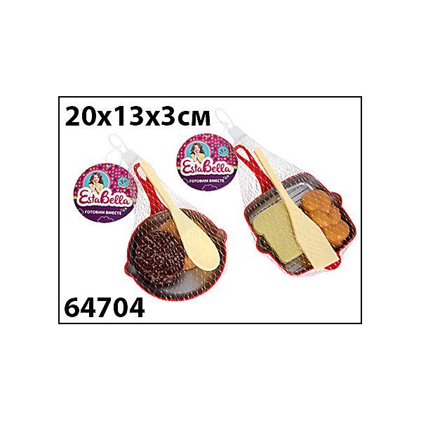 Набор Сковородка с продуктами и лопаткой 1, EstaBellaИгрушечные продукты питания<br>Набор Сковородка с продуктами и лопаткой 1, EstaBella (Эстабелла).<br><br>Характеристики:<br><br>• все предметы очень реалистичны<br>• набор безопасен для ребенка<br>• в комплекте: сковорода, лопатка, муляжи продуктов<br>• материал: пластик<br>• размер упаковки: 13х3х20 см<br>• вес: 290 грамм<br><br>Сковородка с продуктами и лопаткой научит девочку готовить вкусную еду для своих игрушек. Все продукты очень реалистичны, благодаря чему процесс готовки будет очень похож на настоящий. Лопатка поможет ребенку переворачивать или перемешивать еду. С этим набором ребенок почувствует себя настоящим шеф-поваром!<br><br>Набор Сковородка с продуктами и лопаткой 1, EstaBella (Эстабелла) вы можете купить в нашем интернет-магазине.<br>Ширина мм: 200; Глубина мм: 30; Высота мм: 130; Вес г: 290; Возраст от месяцев: 36; Возраст до месяцев: 120; Пол: Женский; Возраст: Детский; SKU: 5017674;