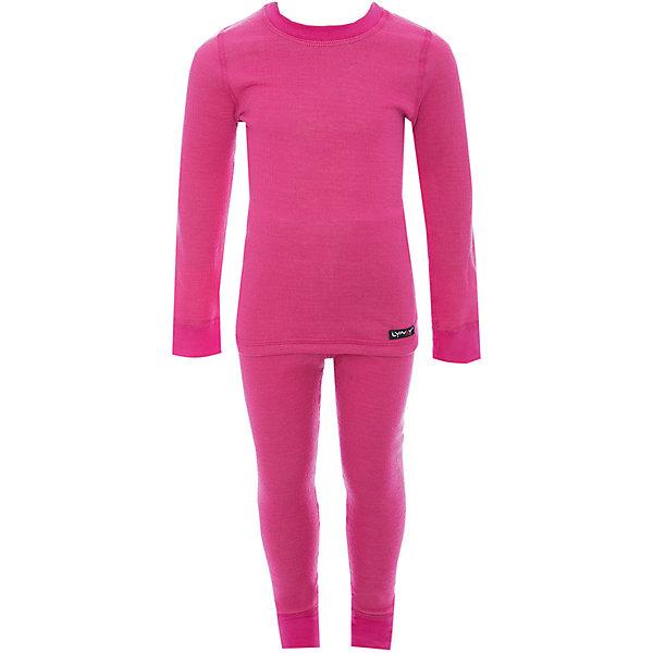 Комплект термобелья LynxyФлис и термобелье<br>Характеристики товара:<br><br>• комплектация: лонгслив и брюки<br>• состав ткани: шерсть 30%, акрил 70%, внутри - хлопок 100%<br>• двухслойное<br>• сезон: зима<br>• температурный режим: от -20 до 0<br>• застежка: кнопки<br>• пояс: резинка<br>• длинные рукава<br>• страна бренда: Россия<br>• страна изготовитель: Россия<br><br>Теплый детский комплект термобелья состоит из лонгслива и рейтуз. Это термобелье можно надевать как самостоятельный комплект или нижний слой в морозы до - 20 градусов. Двухслойный материал комплекта термобелья для детей позволяет создать комфортный микроклимат в холода. Внутренний слой - из натурального хлопка, мягкий, приятный на ощупь.