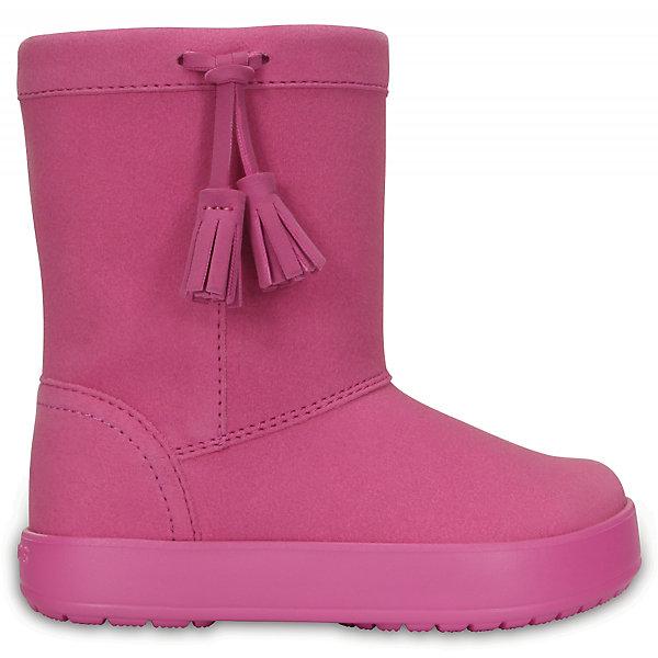 Сапоги Kids' LodgePoint Boot для девочки CROCSСапоги<br>Характеристики товара:<br><br>• цвет: розовый<br>• материал: верх - искусственная замша, низ - термопластик<br>• материал подкладки: текстиль<br>• температурный режим: от -10° до +10° С<br>• антискользящая подошва<br>• толстая устойчивая подошва<br>• страна бренда: США<br>• страна изготовитель: Китай<br><br>Сапоги могут быть и стильными, и теплыми! Для детской обуви крайне важно, чтобы она была удобной. Такие сапоги обеспечивают детям необходимый комфорт, а теплая подкладка создает особый микроклимат. Сапоги легко надеваются и снимаются, отлично сидят на ноге. Модель очень легкая и устойчивая.<br>Обувь от американского бренда Crocs в данный момент завоевала широкую популярность во всем мире, и это не удивительно - ведь она невероятно удобна. Её носят врачи, спортсмены, звёзды шоу-бизнеса, люди, которым много времени приходится бывать на ногах - они понимают, как важна комфортная обувь. Продукция Crocs - это качественные товары, созданные с применением новейших технологий. Обувь отличается стильным дизайном и продуманной конструкцией. Изделие производится из качественных и проверенных материалов, которые безопасны для детей. <br><br>Сапоги для девочки от торговой марки Crocs можно купить в нашем интернет-магазине.<br>Ширина мм: 257; Глубина мм: 180; Высота мм: 130; Вес г: 420; Цвет: розовый; Возраст от месяцев: 18; Возраст до месяцев: 21; Пол: Женский; Возраст: Детский; Размер: 26,34/35,33/34,31/32,25,24,30,23,29,28,27; SKU: 5027445;