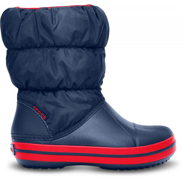 Сапоги Winter Puff Boot для мальчика CROCSСноубутсы<br>Характеристики товара:<br><br>• цвет: синий<br>• материал: верх - текстиль, низ -100% полимер Croslite™<br>• материал подкладки: текстиль<br>• непромокаемая носочная часть<br>• температурный режим: от -15° до +10° С<br>• легко очищаются<br>• антискользящая подошва<br>• резинка наверху<br>• толстая устойчивая подошва<br>• страна бренда: США<br>• страна изготовитель: Китай<br><br>Сапоги могут быть и стильными, и теплыми! Для детской обуви крайне важно, чтобы она была удобной. Такие сапоги обеспечивают детям необходимый комфорт, а теплая подкладка создает особый микроклимат. Сапоги легко надеваются и снимаются, отлично сидят на ноге. Материал, из которого они сделаны, не дает размножаться бактериям, поэтому такая обувь препятствует образованию неприятного запаха и появлению болезней стоп. Данная модель особенно понравится детям - ведь в них можно бегать по лужам!<br>Обувь от американского бренда Crocs в данный момент завоевала широкую популярность во всем мире, и это не удивительно - ведь она невероятно удобна. Её носят врачи, спортсмены, звёзды шоу-бизнеса, люди, которым много времени приходится бывать на ногах - они понимают, как важна комфортная обувь. Продукция Crocs - это качественные товары, созданные с применением новейших технологий. Обувь отличается стильным дизайном и продуманной конструкцией. Изделие производится из качественных и проверенных материалов, которые безопасны для детей.<br><br>Сапоги для мальчика от торговой марки Crocs можно купить в нашем интернет-магазине.<br>Ширина мм: 257; Глубина мм: 180; Высота мм: 130; Вес г: 420; Цвет: темно-синий; Возраст от месяцев: 18; Возраст до месяцев: 21; Пол: Мужской; Возраст: Детский; Размер: 34/35,23,33/34,30,31/32,29,28,27,26,25,24; SKU: 5027493;