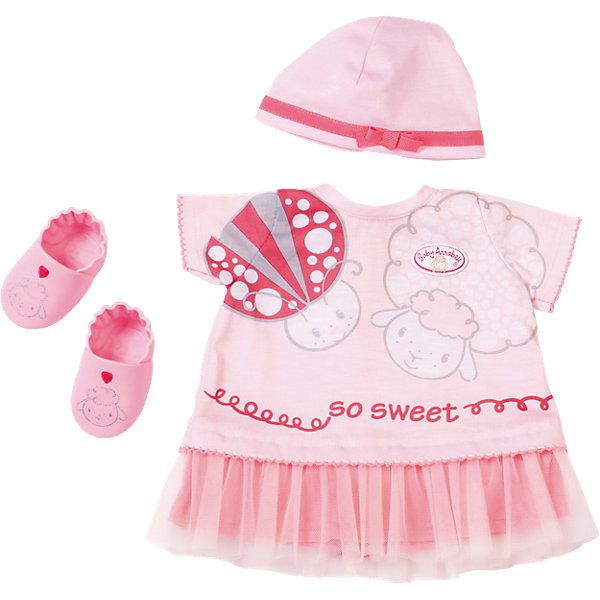 Одежда для теплых деньков, Baby AnnabellОдежда для кукол<br>Характеристики товара:<br><br>• возраст от 3 лет;<br>• материал: текстиль;<br>• в комплекте: платье, шапочка, пинетки; <br>• размер упаковки 36х32х8 см;<br>• страна производитель: Китай.<br><br>Одежда для теплых деньков Baby Annabell дополнит летний гардероб любимой куклы Baby Annabell от Zapf Creation. В комплекте розовое платье с принтом в виде овечки и божьей коровки, шапочка с лентой и бантом и розовые пинетки с мордочками овечек. Вся одежда изготовлена из качественных материалов, ее можно стирать в стиральной машине.<br><br>Одежду для теплых деньков Baby Annabell можно приобрести в нашем интернет-магазине.<br>Ширина мм: 320; Глубина мм: 80; Высота мм: 360; Вес г: 355; Возраст от месяцев: 36; Возраст до месяцев: 60; Пол: Женский; Возраст: Детский; SKU: 5030816;