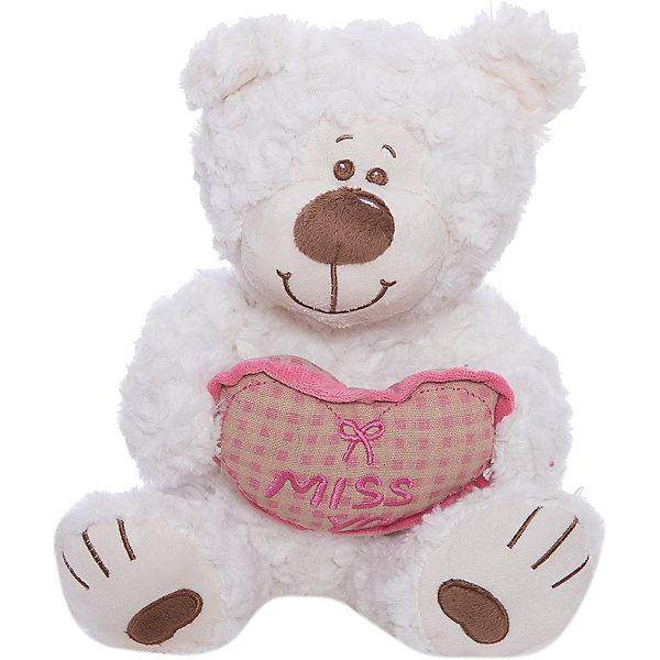 Fluffy Family Мишка Митя с сердцем, белый, 28 см,